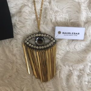 NWT Baublebar long gold evil eye necklace